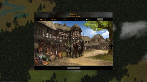 The town/city/fort/castle screen where you recruit men, buy items and get quests.